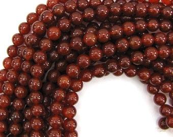 "8mm red carnelian round beads 15"" strand 12821"