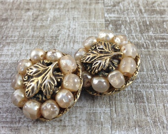 Signed Gorgeous Vintage Tara Faux Pearl Beaded Leaved Clip Earrings