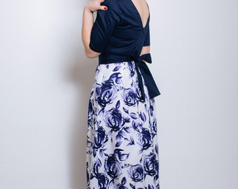 Floral maxi dress, open back maxi dress, wedding, floral dress, navy maxi dress, cotton dress, evening wear, occasion wear, bridesmaids
