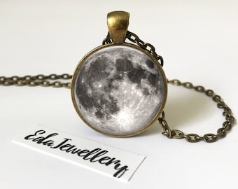Full Moon Pendant, Space Jewellery, Solar System, Star, Necklace