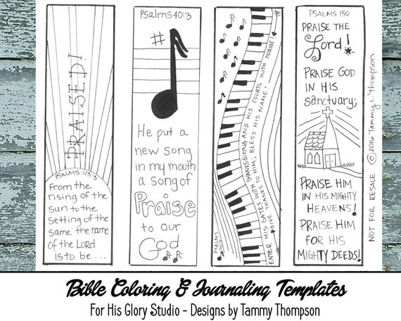 Praise Worship  Bible Journaling Black And White Pdf  Sketches Bookmarks Coloring Bible Verses Music Song From Forhisglorystudio On Etsy
