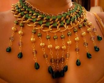 Green handmade beaded & braided Necklace