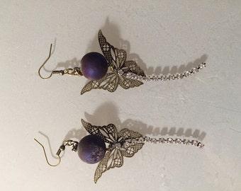 Butterfly orb earrings
