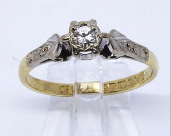 Vintage Diamond Solitaire Ring   1960s   Size M1/2 (UK) 6.5 (US)   Free Sizing / Shipping