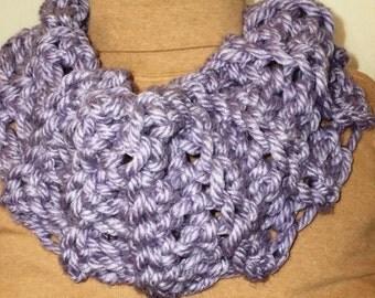 Finger Crocheted Lavender Cowl