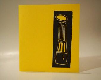 Mining Lamp Linocut Card