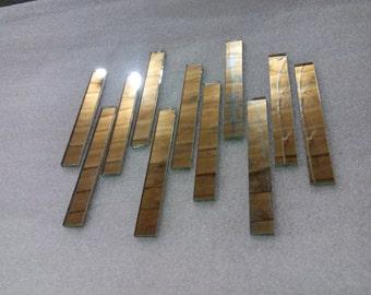 Rectangular silver mirror glass mosaic tiles 10mm x 80mm. 100pcs