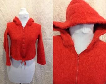 SALE 1960s 70s Red Hooded Sweatshirt Women's Size XS Hoodie Mod