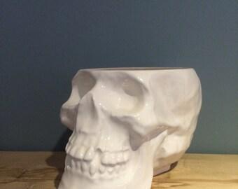 White Glazed Ceramic Skull Container