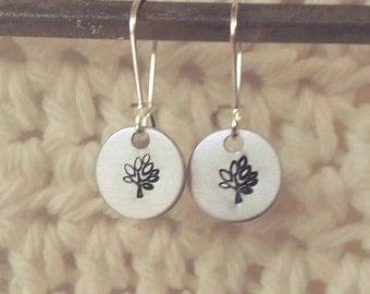 Handstamped Tree Earrings