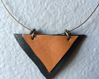 Black and Tan Leather Triangles Necklace