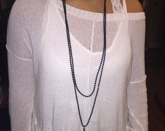 Long Wrap Necklace with Metal Spike Pendant