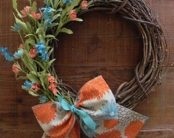 Grapevine w/ Teal and Oange Flowers