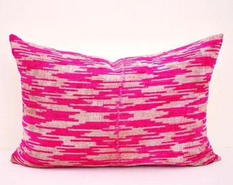 Ikat Pillow-Pink Ikat pillow-Red pink ikat cushion-Throw silk velvet pillow- Ikat throw Pillow-Ikat Designer pillow-Decorative Throw Pillow