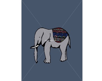 Elephant - Mini Print / Postcard - Digital Illustration Art Print