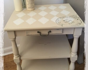 French inspired harlequin side table