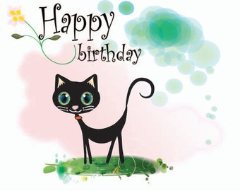 Personalised and Printable Birthday card from the Kitty Kat range!