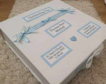 Personalised Memory Keepsake Box, Baby, Boy, Girl, Blue, Pink, Christening, New Baby, Gift, Present