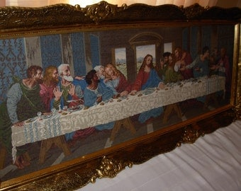"Wiehler original Da Vinchi ""The Last Supper""  authentic  needlepoint original vintage gobelin"