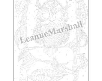 Owl colouring page (Grey)