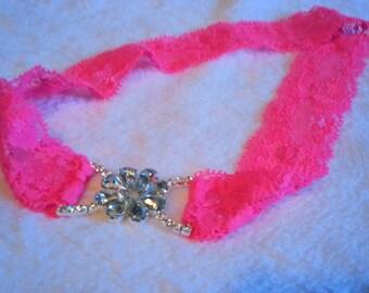 Pink Headband With Silver Jewel