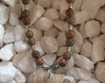 Jasper Beaded Necklace with pearlized floral design charm