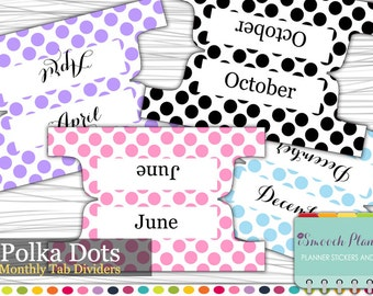Planner Dividers - 12 Monthly Tab Dividers - Polka Dots | Custom Dividers | Monthly Planner | Custom Divider Tabs