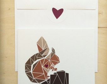 Getting Cards / printed / illustration / Squirrel / brown / nature / animal / heart