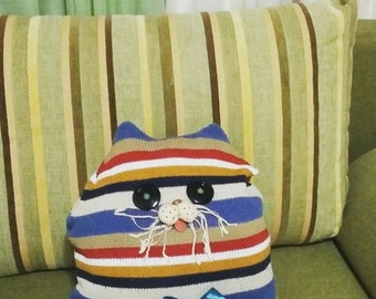 Attic Toy Pillow eco design art cat soft recycled handmade child friendly fabric doll upcycled