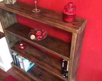 Handmade reclaimed solid wood scaffold plank bookcase, shelf unit, display unit, dvd storage