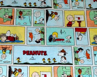 PEANUTS COMIC FABRIC / 1/2 Yard For Quilting / Charlie Brown - Snoopy - Lucy / Vintage Comic Strip Scenes