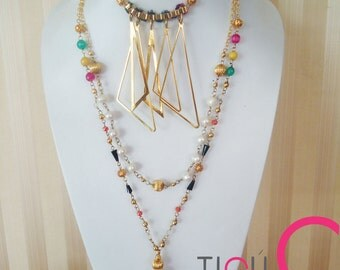 Triangular + colorful beaded necklace