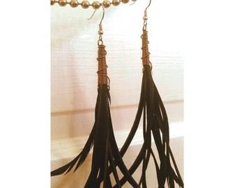 Long black bohemian feather earrings