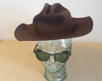 Coral West Ranchwear Brown Felt Cowboy Hat - Size 6 3/4