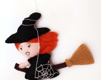 Lucky little witch to hang in felt and cotton