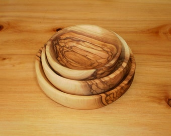 Olive wood small bowls - set of 3 ,Hand Made in Bethlehem ,Wooden bowl ,Holy land,
