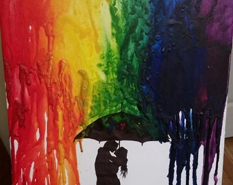 Melted Crayon Art - Rainbow