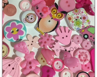 50 Pink assorted buttons, novelty buttons, round buttons, scrapbooking, sewing, crafts