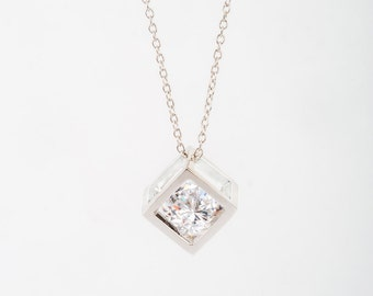 Square White Gold Necklace