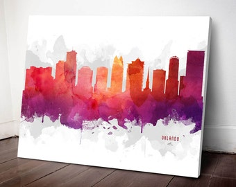 Orlando Skyline Canvas, Orlando Print, Orlando Art, Orlando Gift, Orlando Cityscape, MMR-USFLOR04C