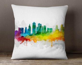 Kansas City Skyline Throw Pillow, 18x18, Kansas City Cityscape, Kansas City Pillow Case, Cushion, Gift Idea, MMR-USMOKC05PI