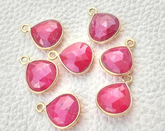 925 Sterling Silver,24k Gold Plated,Natural Dyed RUBY Faceted Heart Shape Pendent,1 Piece of 13mm