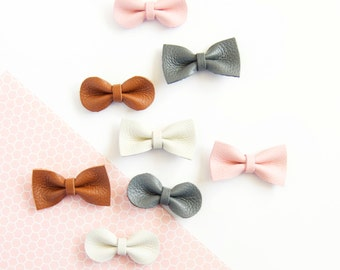 Fall Hair Bow, Crocodile Clip, Nylon Headband, Leather Bow, Newborn, Grey Bow, Pink Bow, Little Girl Bow, Mini Bow, Hair Accessory, Baby Bow