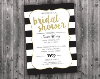 Black White & Gold Bridal Shower Invitations Printed - Affordable, Cheap, Charming, Shabby Chic, Elegant, Stripes, Modern, Trendy, Golden
