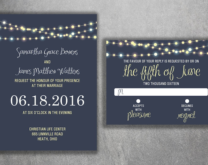Wedding Invitation Set - Cheap Wedding Invitations, Lights Wedding Invitations, Unique, Announcements, Custom, Night, Blue, Country, Rustic