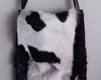 Fabulous black&white crossbody bag from real cow fur and old leather vintage style handbag handmade bag stylish and unique bag has size-big.