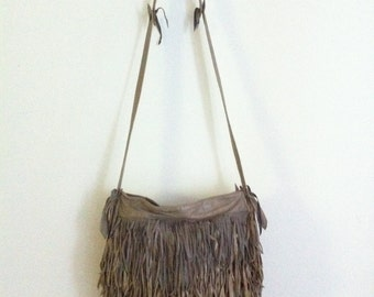 Real handmade crossbody bag, from soft leather with elements of fashionable leather fringe new women's bright gray color bag size-medium.