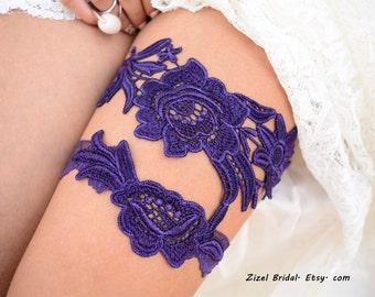 Purple Garter, Wedding Garter, Lace Wedding Garter, Dark Purple Garter, Lace Garter Set, Bridal Garter, Wedding Garter Set, Handmade Garter