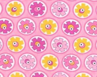 Hubba Hubba Fabric, 1/2 yard, Pink Hubba Hubba Fabric, Me & My Sister Designs, Moda Fabric, Quilting Fabric, Pink Yellow Flowers, 22213-11