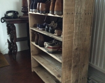 Hallway shoe rack made to order from reclaimed pallet wood